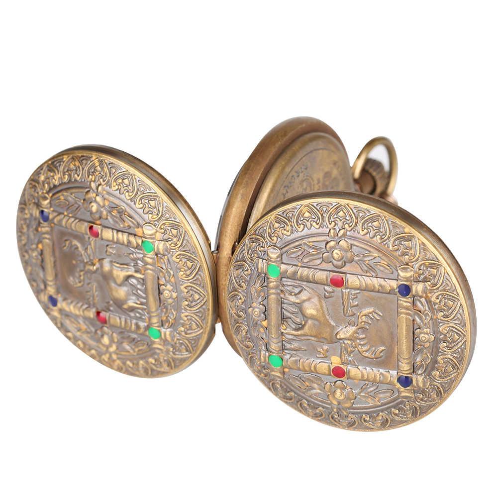 Antyczne duże mechaniczny zegarek dla mężczyzn poziome fazy księżyca słońce 24 godziny szkielet zegarki kieszonkowe dla kobiet wisiorek łańcuch zegarek