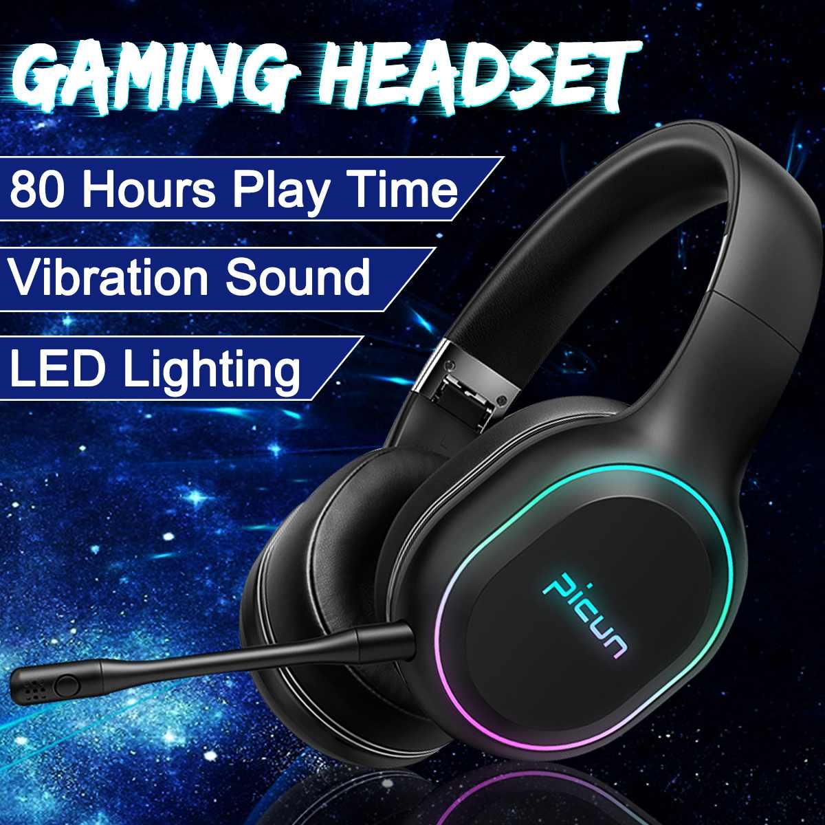 Bluetooth sur l'oreille casque RGB LED Vibration stéréo profonde basse Surround son sans fil casque de jeu écouteur pour Gamer PC