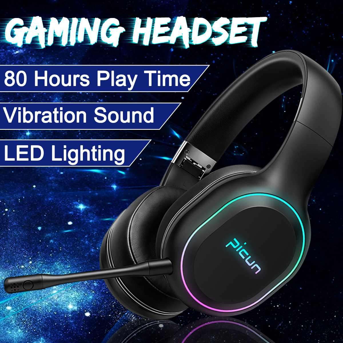 bluetooth Over-Ear Headphones RGB LED Vibration Stereo Deep Bass Surround Sound Wireless Gaming Headset Earphone For Gamer PC image