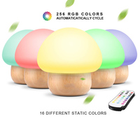 Night Lights for Kids, NNIUK Baby LED Mushroom Night Lamp, Soft Silicone Lampshape, 100% Rubber Wood, 4 Light Modes and 16 Color