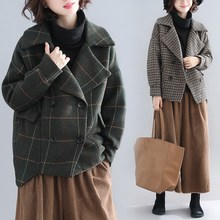 Women Drop-Shoulder Plaid Coat Autumn Winter Turn-Down Collar Loose Outerwear Casual Double Breasted Woolen Overcoats