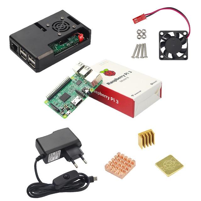 Raspberry Pi 3 modèle B kit 5V2. 5A alimentation avec interrupteur + carte SD 16G + boîtier ABS + ventilateur de refroidissement + dissipateur de chaleur + câble HDMI + caméra 5MP - 5