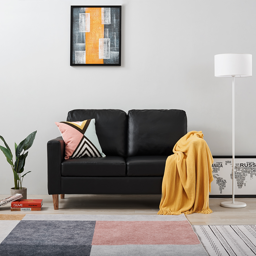Panana 2 Seater Sofa Faux Leather Modern Design Living Room Office Furnitures Black Or Brown Sofa Seating