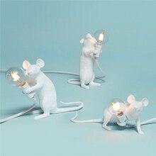 Modern Mouse Lamp Desk LED Black White Gold Animal Lamps Lights Resin Night Art Table