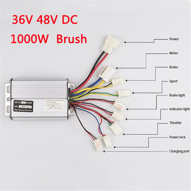 Electric Bicycle Controller With 36V 48V 1000W 30A DC Brushed For E bike Scooter Skateboard Part Fit Battery Motor Engine Part