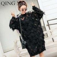 QING MO Women Black Feather Dress 2019 Spring Clothes Long Sleeve Temperament Half High Lead Tassels Chiffon Dress Women QF560