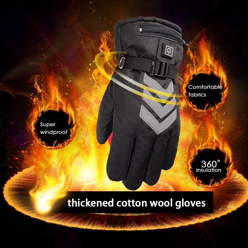 Fiche US/EU hiver épaissir les gants chauffants chauffe-main Rechargeable alimenté par batterie pour moto Ski cyclisme gants électriques