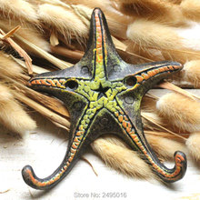 Starfish Ocean series Cast Iron Wall Hook Mount Towel Hanger for Hat, Key, Coats