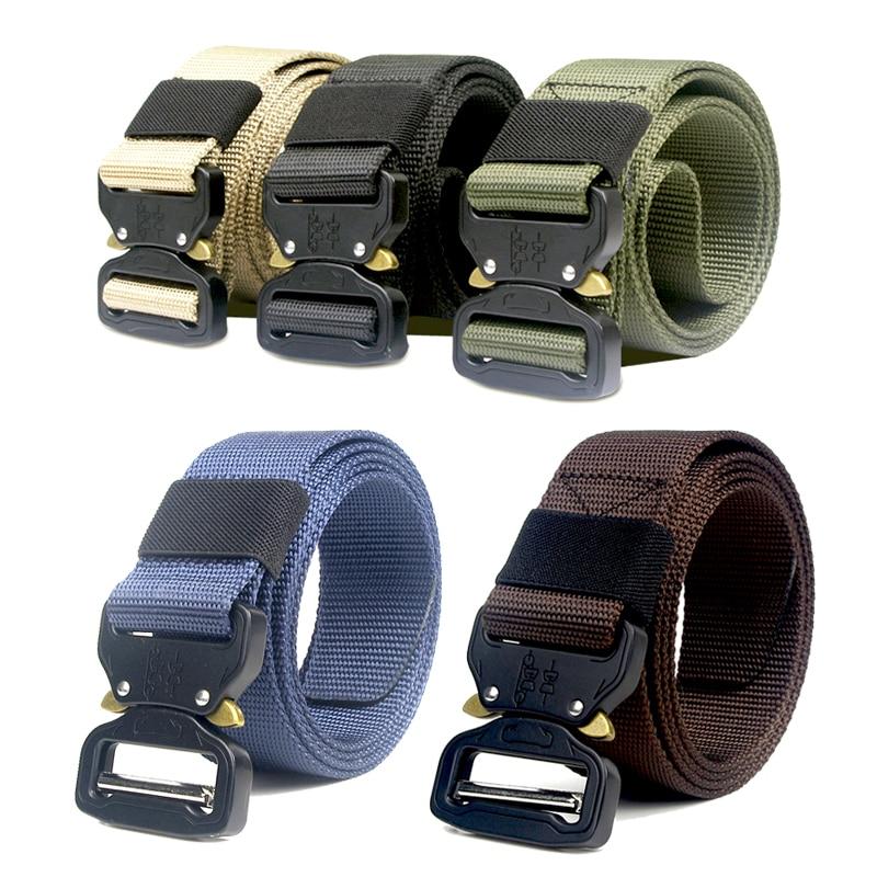 Men's Belts 125cm 135cm Tactical Nylon Belt Molle Military Swat Combat Belts Knock Off Emergency Survival Waist Belts Tactical Gear Dropship