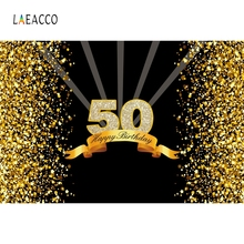 Laeacco Golden 50th Birthday Part Backdrop Photography Backgrounds Customized Photographic Backdrops For Photo Studio