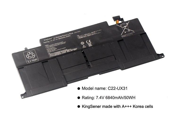 KingSener Nouveau C22-UX31 batterie d'ordinateur portable pour asus Zenbook UX31 UX31A UX31E UX31E-DH72 C22-UX31 C23-UX31 7.4 V 50WH/6840 mAh - 2