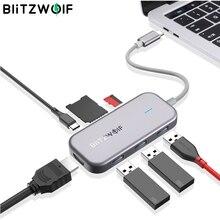 BlitzWolf BW TH5 7 w 1 USB C danych Hub 3 Port USB 3.0 czytnik kart TF ładowania PD 4K HDMI wyświetlacz dla komputerów macbook dla iPad laptopa