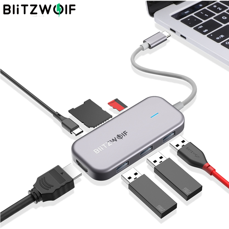 BlitzWolf BW-TH5 7 in 1 USB-C Data Hub with 3-Port USB 3.0 TF Card Reader USB-C PD Charging 4K Display for MacBooks for iPad image