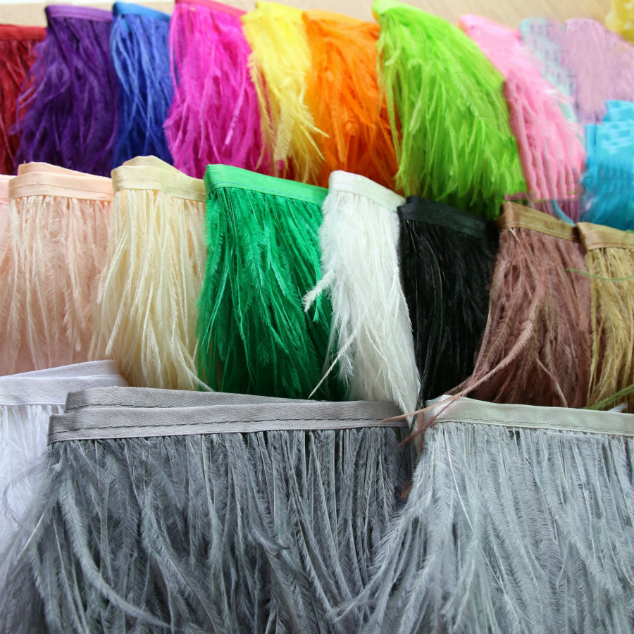 5meters/10Meters Width 11 16cm Ostrich Feather Fringe Ribbon Trim  Cloth Skirt Lace DIY Party Wedding Dress Accessories CraftLace   -