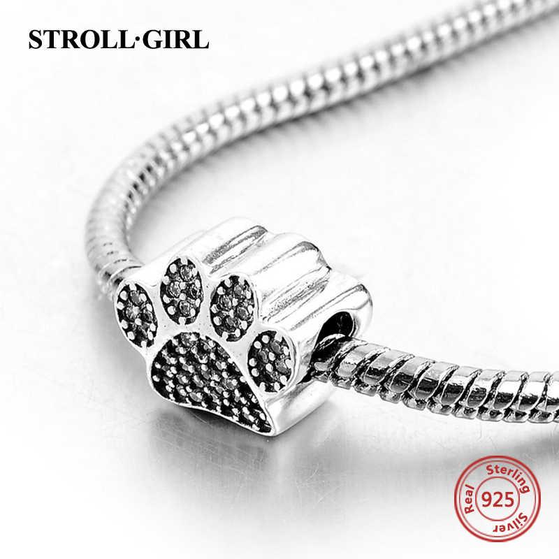Fit bransoletka Pandora s moda nowy 925 srebro zwierząt ślad psiej łapy wisiorek Charm fit bransoletka Pandora dla DIY biżuteria