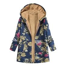 Vintage Floral Printed Warm Hooded Fleece Zip Coat New Women Winter Ladies Casual Hoodies Jacket Overcoat Outwear Tops