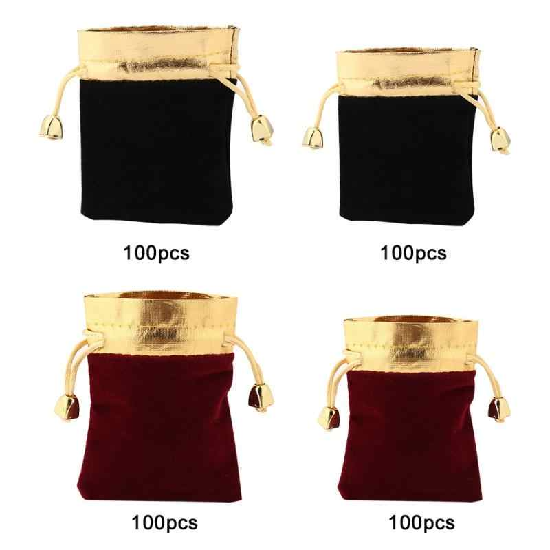 54f29ea518c6 New 100PCS 8 * 10cm/10 * 12cm Luxury Pouches Packing Drawstring Bag for  Gift Jewelry Party Wedding Makeup Favor Pouch Bag