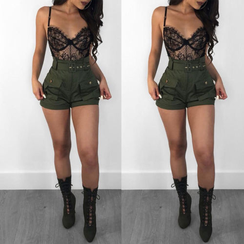 Casual Women's Summer Shorts Casual Solid With Belt Double Pocket Elastic High Waist  Army Green Outdoors