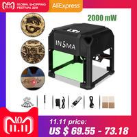 2000 mW CNC Laser Engraver DIY Logo Mark Printer Cutter Laser Engraving Machine Woodworking 80x80mm Engraving Range
