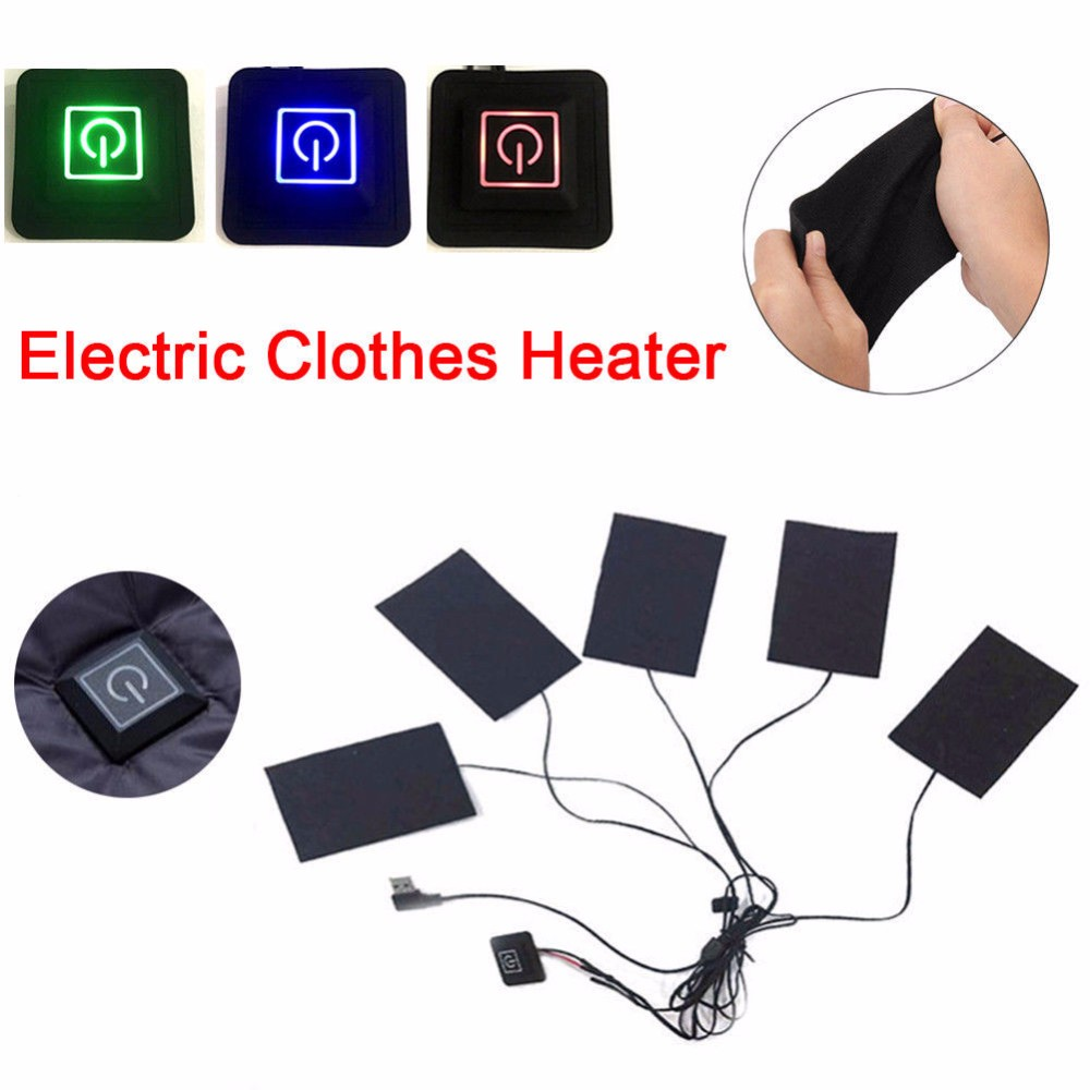 5/3 Clothes Heating Pad Waterproof Carbon Fiber 3 Gear USB Electric Heating Pads Winter Keep Warm Up To 65 Degree Toiletry Kits