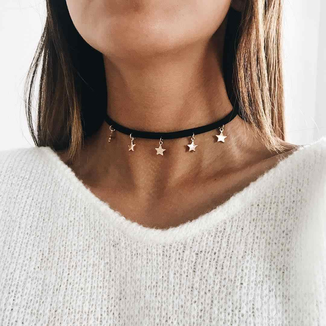 Black Velvet Choker Necklace for Women 2018 Fashion Jewelry Gold Color Stars Tassel Necklaces Ladies Party Necklace Girls Gift