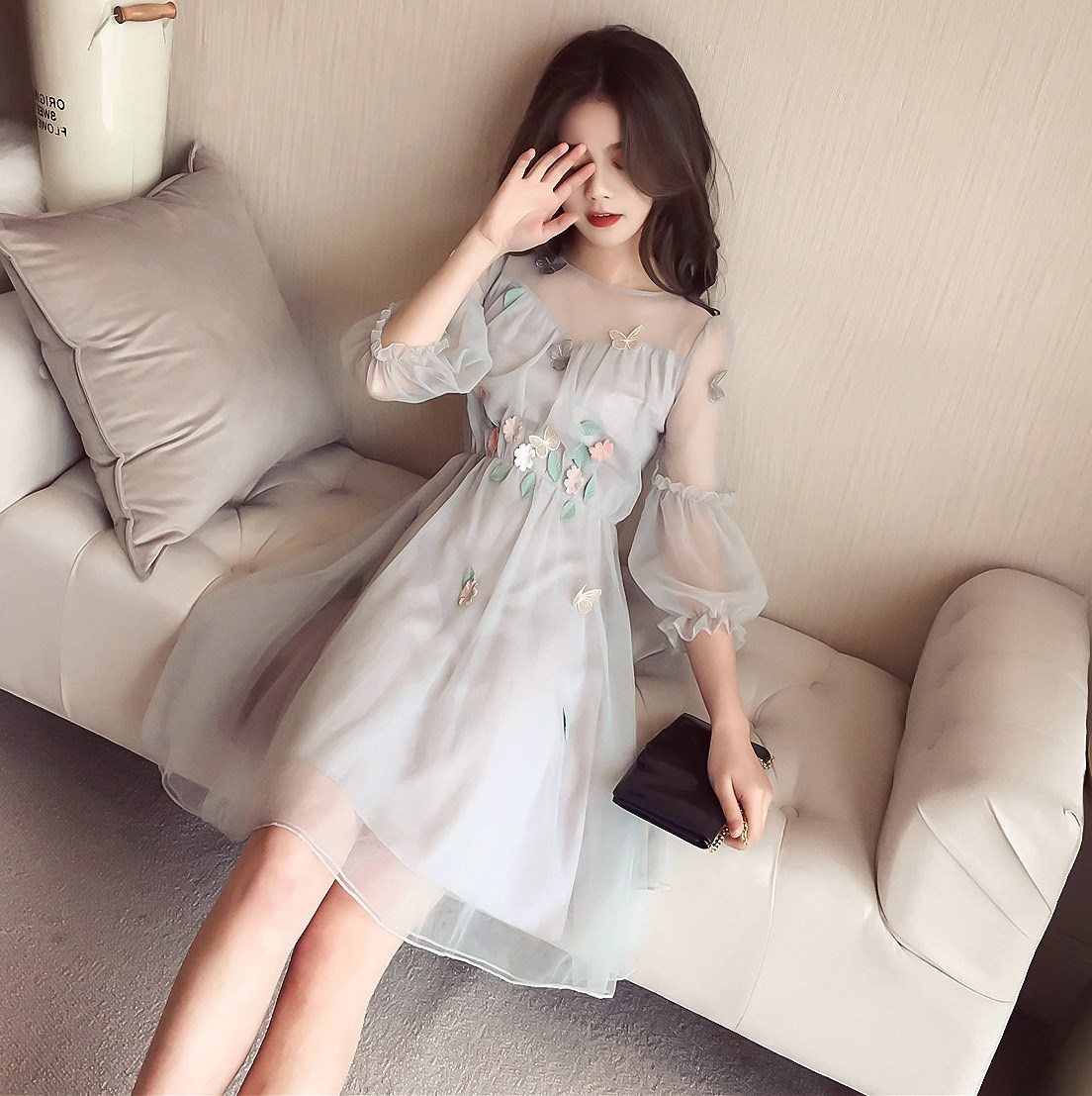 Korean Spring Summer Dress Midi Long Sleeve Dress Wholesale Elegant Plus Size Dresses 4