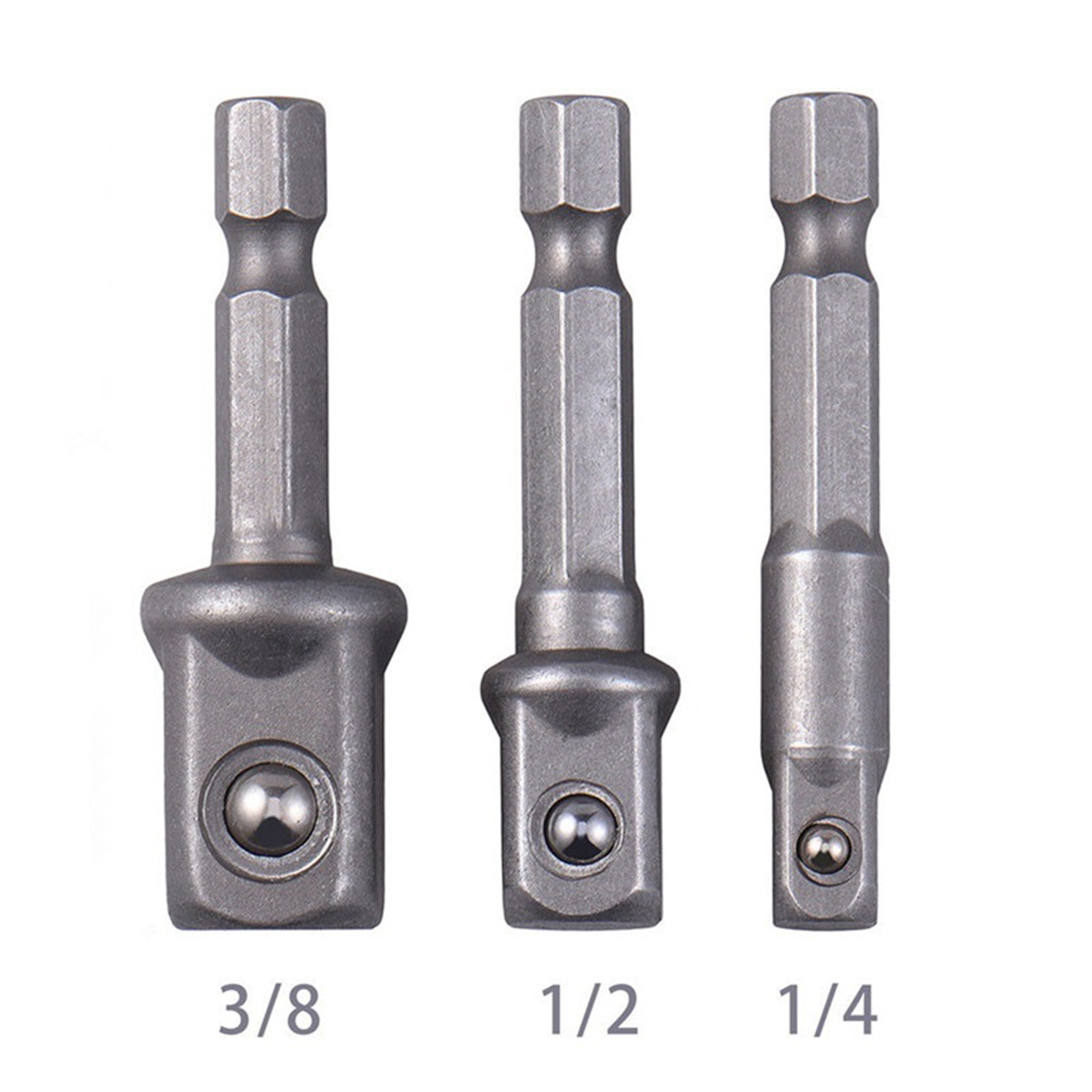 3pcs/Set Chrome Vanadium Steel Socket Adapter Hex Shank To 1/4