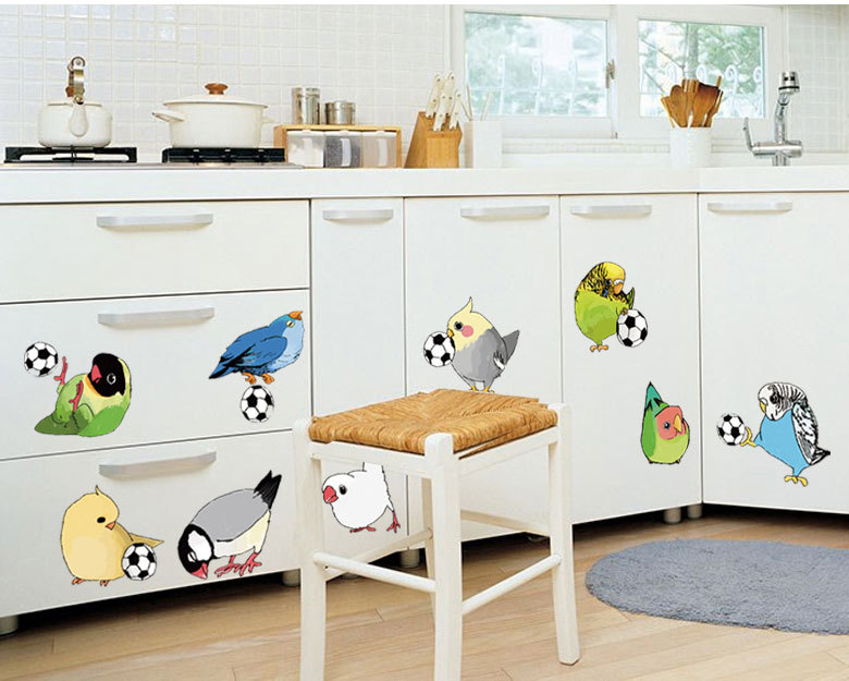 Decorate bird football art wall sticker decoration Decals mural painting Removable Decor Wallpaper LF 1814 in Wall Stickers from Home Garden