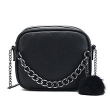 купить 2019 Pu Shoulder Crossbody Bag Small Designer Chain Women Bag Leather Handbag Messenger Bag Plush Ball Toy Bolsa Torebki Damskie по цене 692.34 рублей