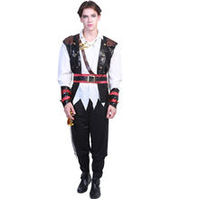 цена Pirate Costume Men Adult Pirate Cosplay Halloween Costume For Adult Carnival Purim Party Suit онлайн в 2017 году