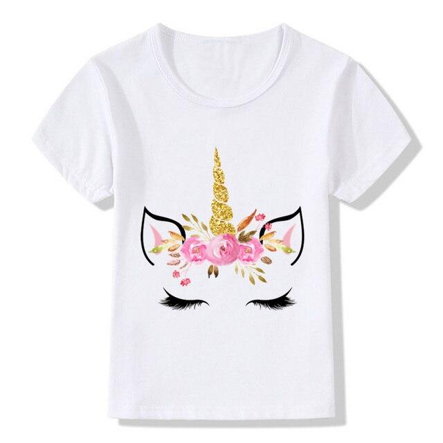 Dễ thương Unicorn Thiết Kế Khuôn Mặt Trẻ Em Vui T áo sơ mi Bé Trai Bé Gái Harajuku Mùa Hè Màu Trắng T-Shirt Trẻ Em Phim Hoạt Hình Quần Áo, HKP5177