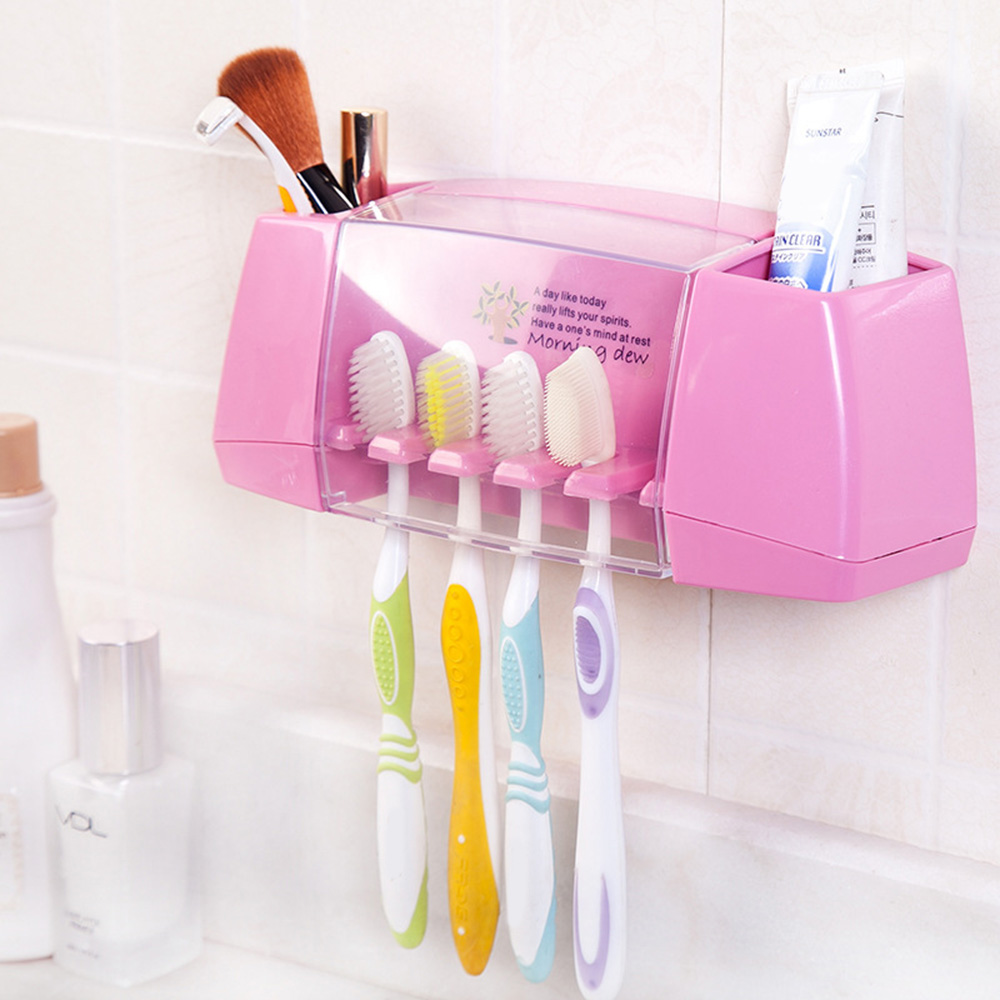 Plastic <font><b>Toothbrush</b></font> Holder Bathroom Organizer Accessories Tools Toothpaste Storage <font><b>Rack</b></font> Shaver Tooth Brush Dispenser Set image