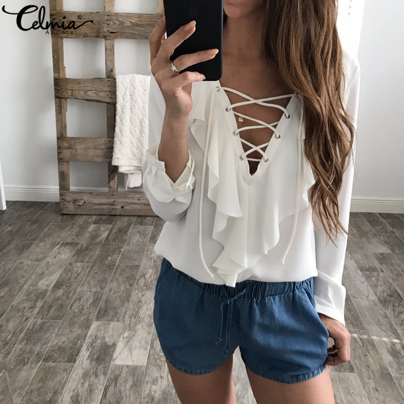 Celmia mujer verano blusa 2018 Blusa de gasa Sexy Top de encaje con cuello en V y volante de camisa de manga larga Casual Plus tamaño blusa femenina