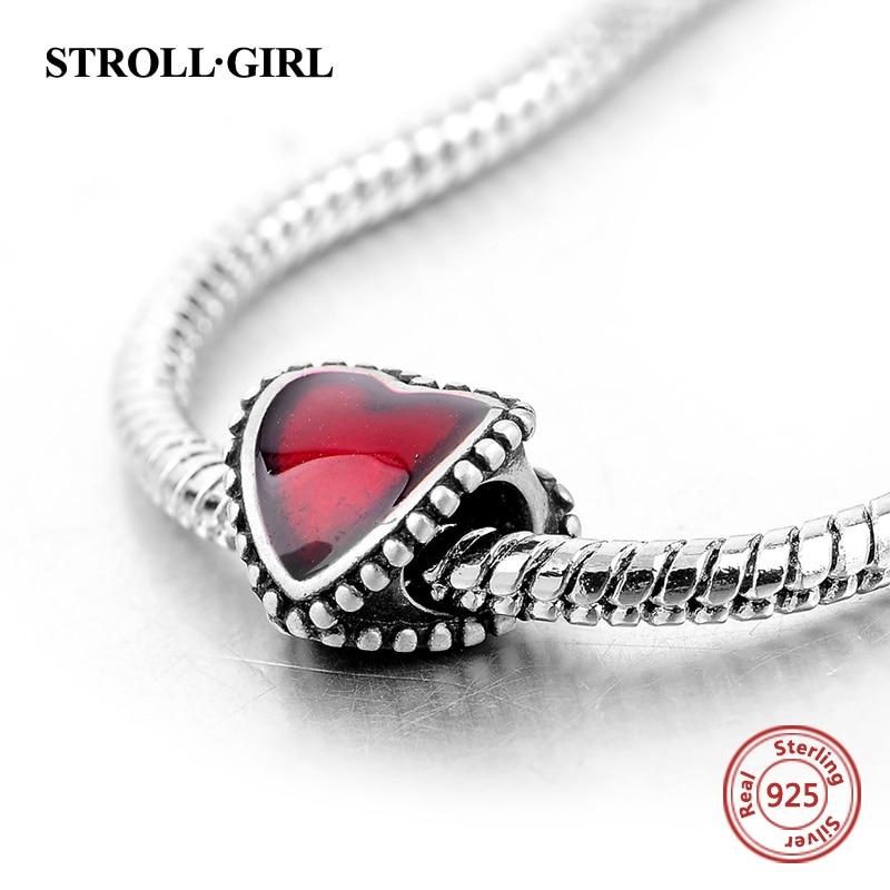 925 Sterling Silver European Enamel Röda Hjärtan Kärlek Pärlor - Märkessmycken - Foto 2