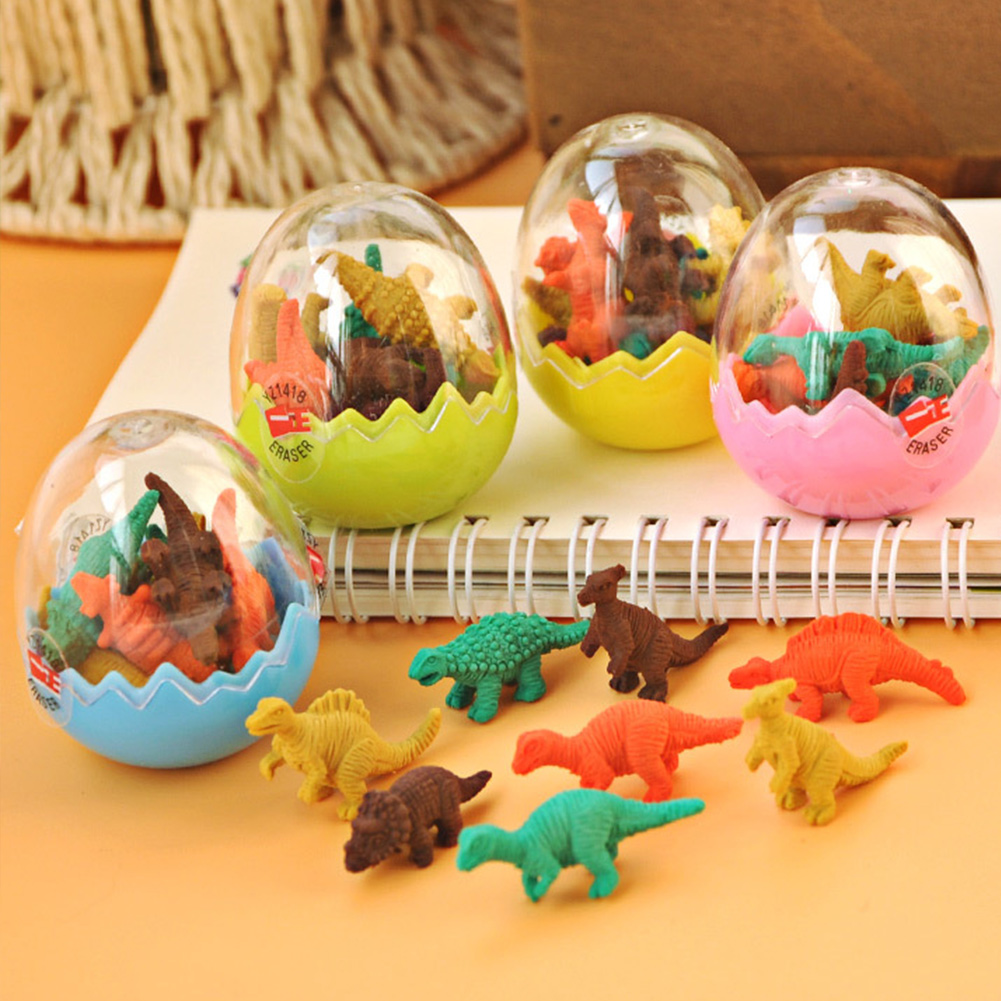 7Pcs/set Kids Gift Funny Eraser Cute Cartoon Supplies Stationery Dinosaur-egg School Office Box Rubber Pencil Random Color