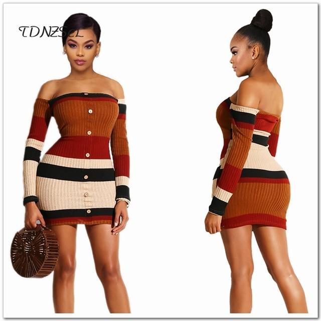 efa5489ec7d Sexy Women Slash Neck Sheath Sweaters Dress Long Sleeve Off Shoulder  Bodycon Above Knee Short Mini