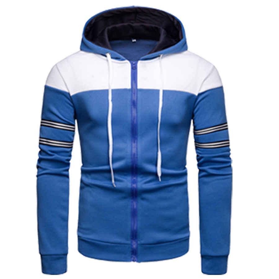 2019 新スタイルのファッションホットメンズ冬の暖かいパッチワークジッパースリムフィット長袖生き抜く帽子コートジャケット