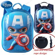 Disney 2In1 Toddler Backpack Anti-lost Wrist Link Kids Walking Strap Leashes Bag Captain America Schoolbag Creative Gift(China)