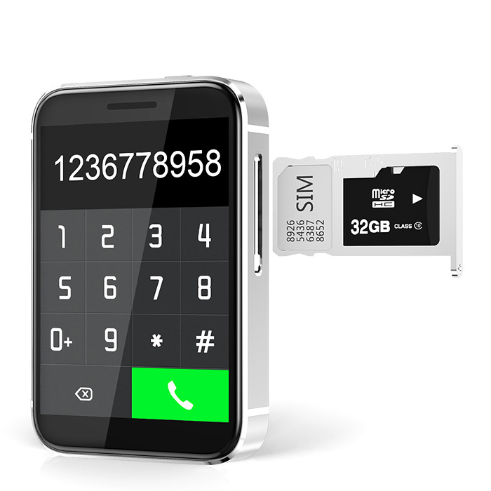 AIEK \ AEKU i5 plus 2G MP3 MP4 quadri-bande débloqué téléphone 2.0 pouces MTK2502C 64 mo RAM 128 mo ROM 0.3MP caméra arrière Bluetooth 500 mAh