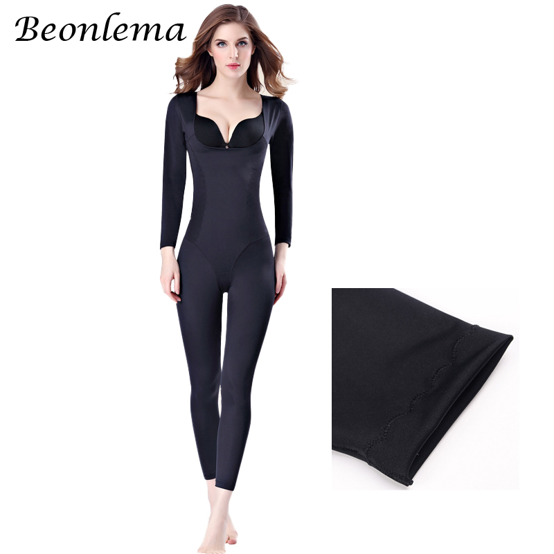 Beonlema Women Body Modeling Shaper Full Long Leg Shapewear Seamless Short Arm Shapers Slimming Underwear Plus Size Bodysuit