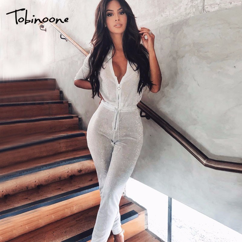 Tobinoone Autumn New V-neck Sequin Sexy Rompers Womens   Jumpsuit   Lace Up Bodycon Bodysuit Evening Party   Jumpsuits   For Women 2018