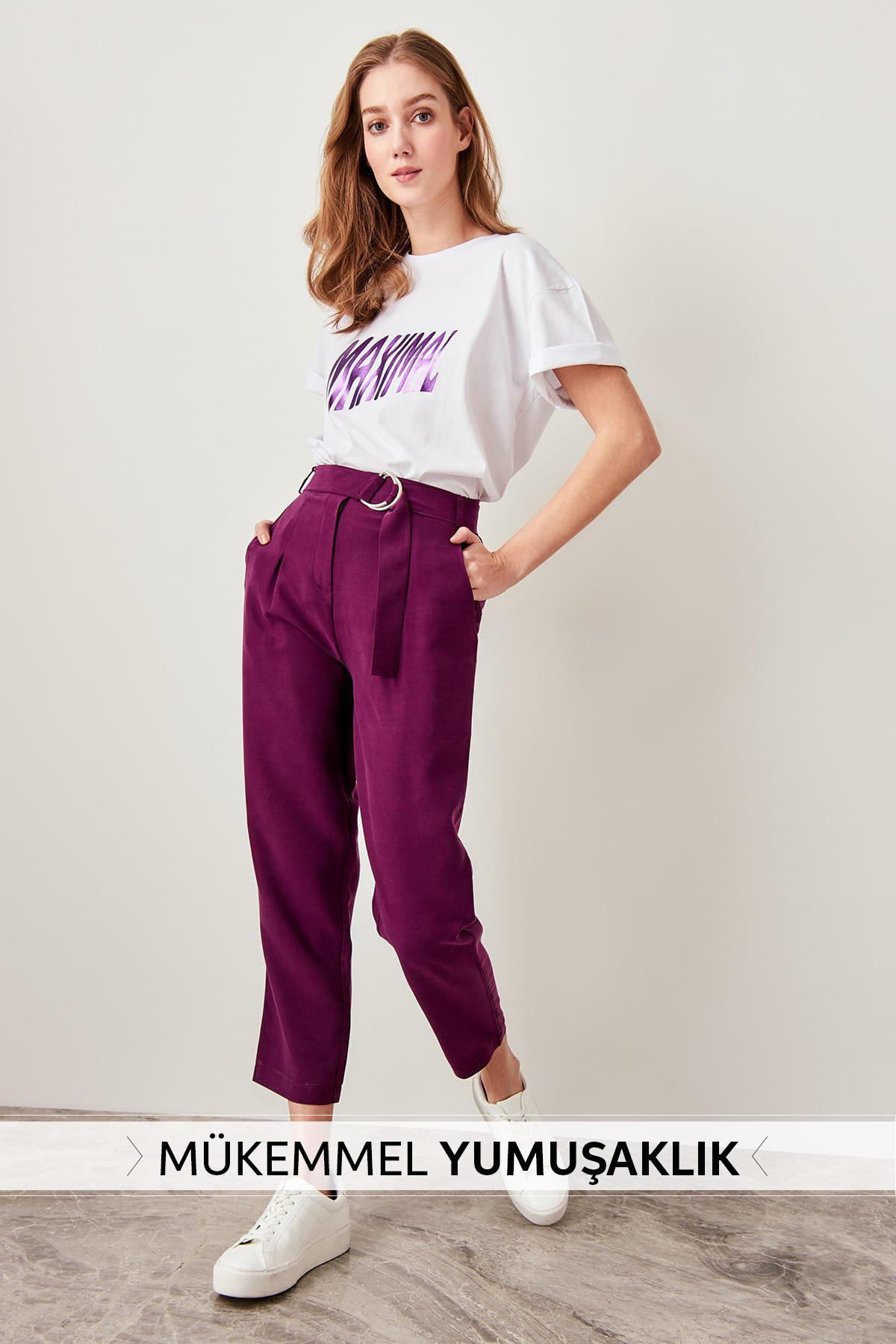 Trendyol Plum arched Lyocell trousers TWOSS19ST0053