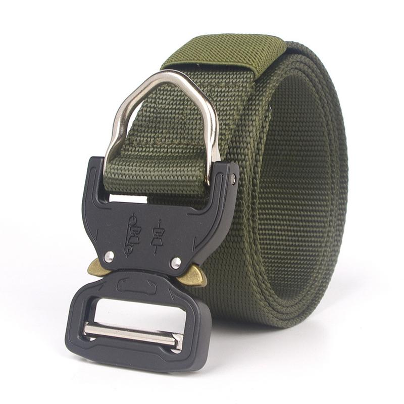 Tactical Belt For Men, Military Style Nylon Web Belt With Adjustable Heavy-Duty Quick-Release Metal Buckle image