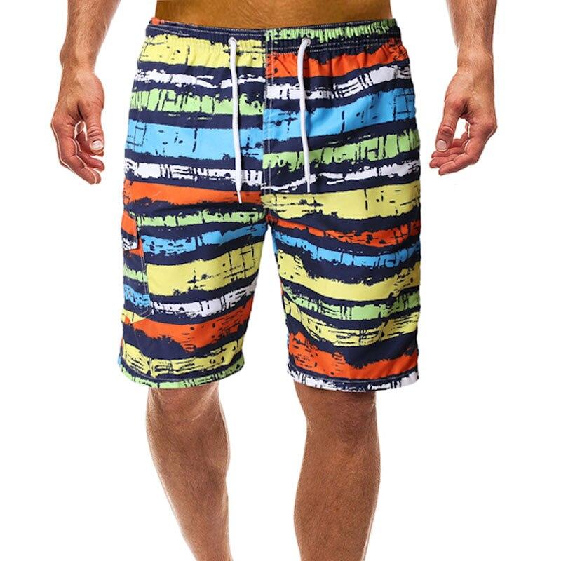 Men Beach Swimwear Swim   Short   Trunk Stripes Brand   Board     Shorts   Bermudas Surf Male Sport Sweatpants Beachwear Man Boardshorts