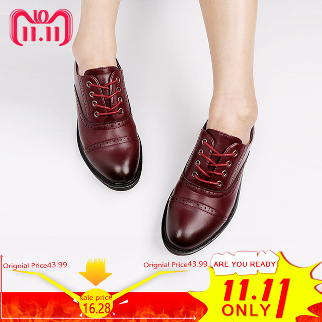 2017 Fashion Woman Spring Autumn Flat Oxford Shoes British Style Vintage Shoes Soft PU Leather Red Casual Retro Brogues 5