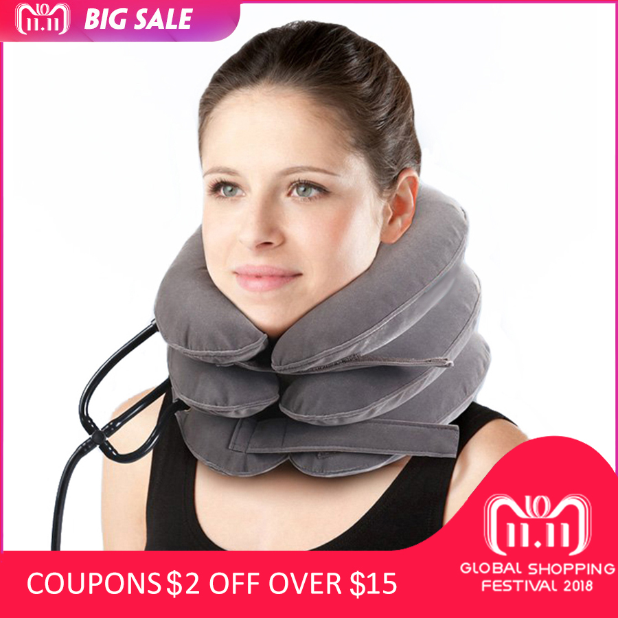 High quality Cervical Traction Collar Medical PVC line Neck Massage Device Support Brace Posture Corrector Pain Relief neck care adult cervical traction apparatus inflatable support fixed tuohu neck with neck stretching his neck