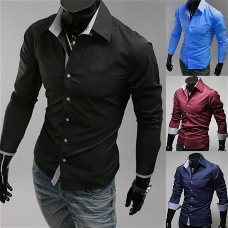 Fashion Mens Luxury Stylish Casual Long Sleeve Dress Shirts Slim Fit Shirts