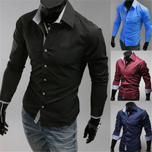 New Fashion Men's Luxury Stylish Casual Dress Shirts Long Sleeve Slim Fit
