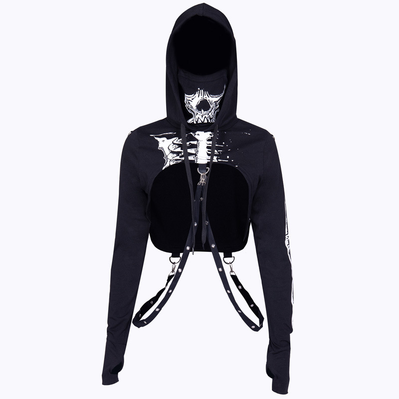 294e2b88f6f0f Gothic Women Skull Print Hoodie Sweatshirt Drawstring Hooded Top Goth  Casual Streetwear Cool Sexy Navel Cropped Hoodies Black