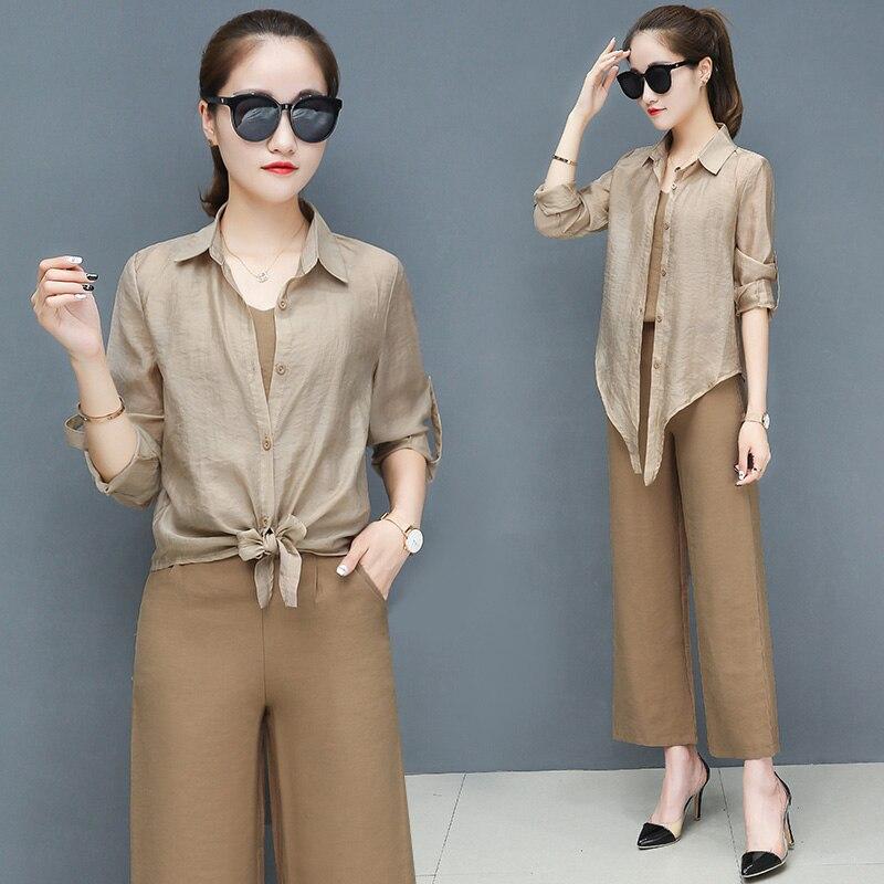 2019 Spring summer women sets office lady elegant chiffon blouse shirts+female wide leg pants trousers pantalon two piece sets 1
